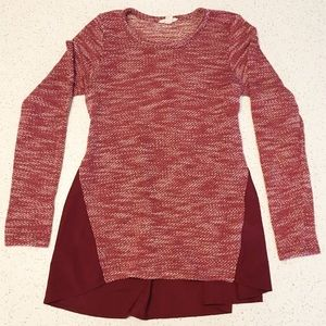Lucky Brand Marled Sweater With Chiffon Trim